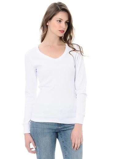 Grip V Yaka Sweatshirt Beyaz